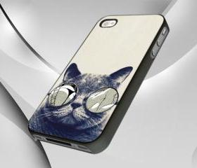 Cat Glasses Case Cover for iPhone 4 or 4S Case